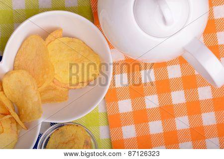 Potato Chips On White Bowl, Close Up
