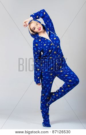 Beautiful Girl Dancing In Funny Pajamas