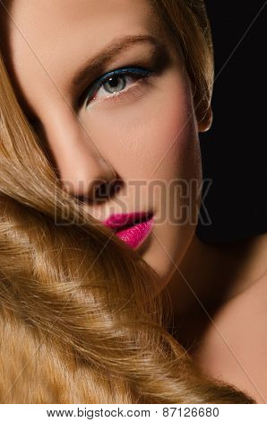Portrait Of Blonde Girl With Beautiful Hair