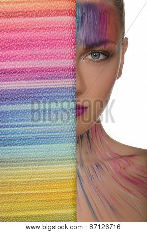 Charming Woman With Colorful Purse And Face Art