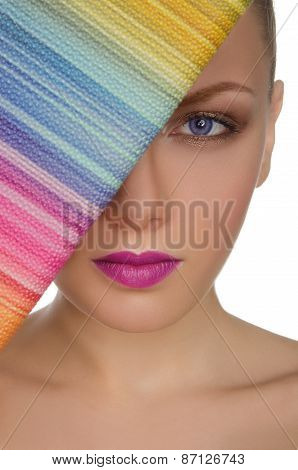 Portrait Of Beautiful Woman With Colorful Purse