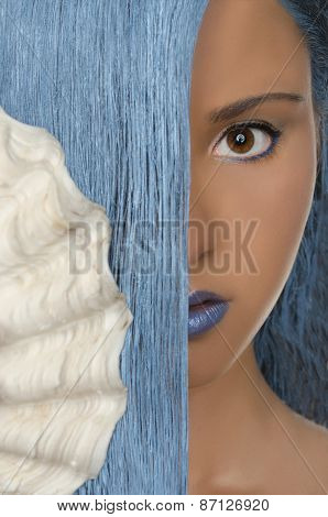 Woman With Straight Blue Hair, Shells, Open Eyes