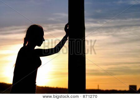 girl having a sunset rest