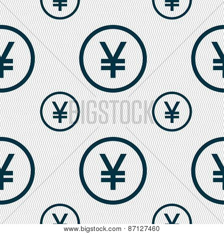 Japanese Yuan Icon Sign. Seamless Pattern With Geometric Texture. Vector