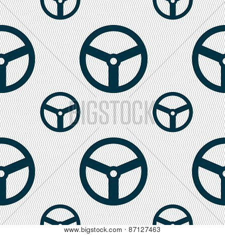 Steering Wheel Icon Sign. Seamless Pattern With Geometric Texture. Vector