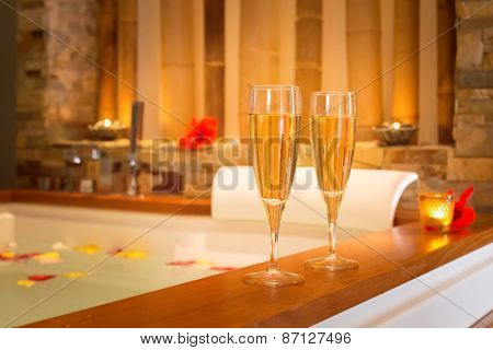 Two Glasses Of Champagne Near Jacuzzi