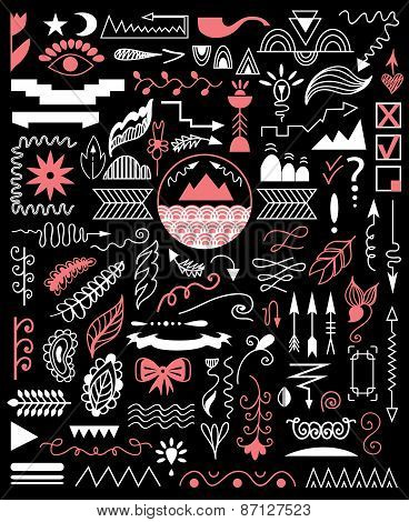 Vector Hand Drawn Elements On A Black Background.