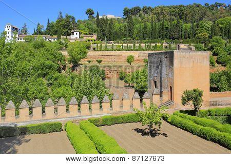Alhambra garden in Granada, Andalusia, Spain