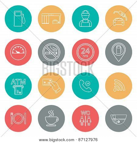 Line Gas Station Icons. Service Icons. Vector