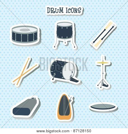 Drum Icons. Stickers. Flat Design. Vector