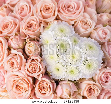 Abstract Background Of Flowers As Heart