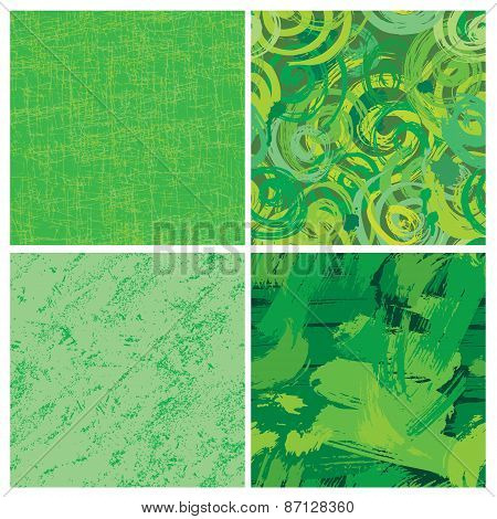 Set Of Seamless Pattern With Blots And Ink Splashes In Green Colors. Abstract Background For Design