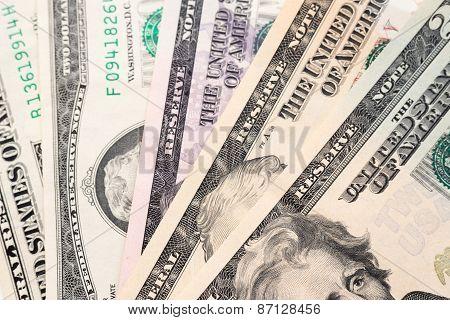 Dollars banknotes background