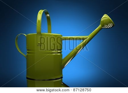 Green garden watering can on a blue background with reflection