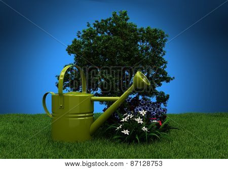 Green garden watering, grass, trees and flowers