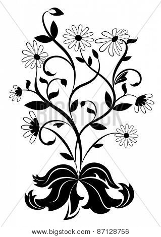 Black and white daisy wheel design element.