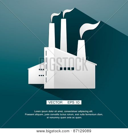 Chemical factory silhouette for industrial and technology design.