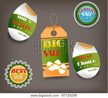 Set of Easter labels with text - Big Sale, Best Offer, Best Choice, striped eggs