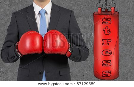 Young Businessman In A Suit Wearing Boxing Gloves Is Ready To Hit The Punching Bag