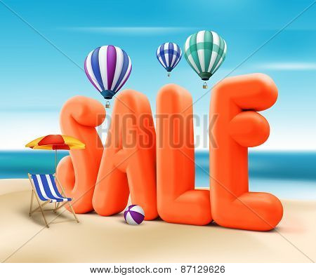 3D Rendered Sale Word Title for Summer Promotion