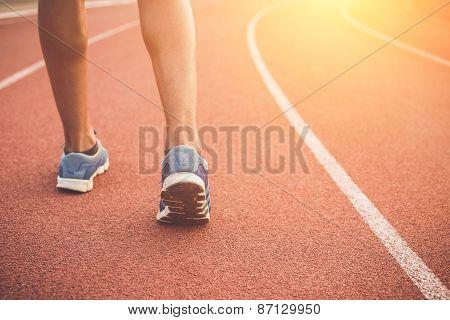 Runner Feet On Running Stadium