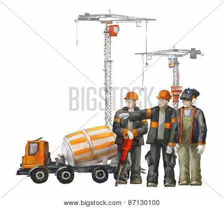 Builders on the building site. Industrial illustration with workers, cranes and concrete mixer mach