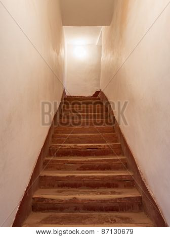 The Old Wooden Stair Of Kasbah De Taourirt