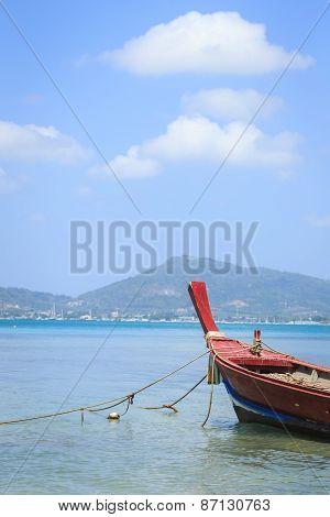 Traditional Longtail Boat In The Sea
