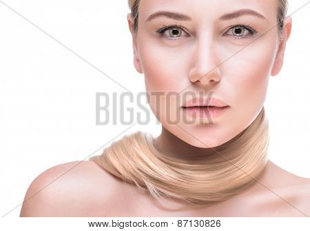 Beautiful woman face, closeup fashion portrait of a beautiful blond woman with perfect straight hair isolated on white background, clean makeup, photo for a luxury beauty salon