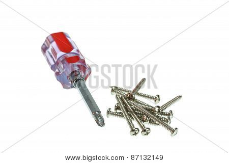 Screw And Screwdriver Isolated On White