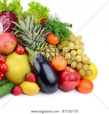 assortment fresh fruits and vegetables isolated on white background
