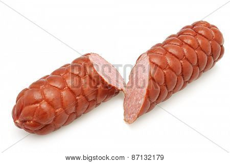 cut sausage isolated on a white background