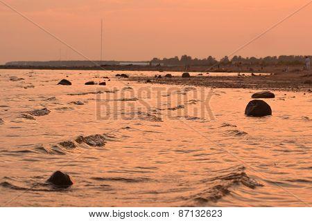 Baltic Sea Shore At Sunset.