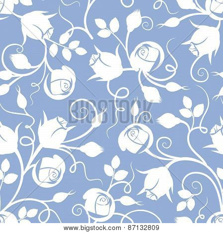 White seamless floral pattern with rose buds on blue. Vector illustration.