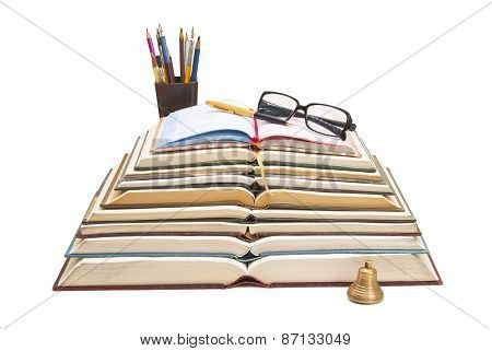 Books, Pens And Sunglasses In A Single Composition.