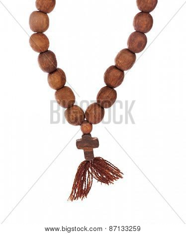 Wooden rosary isolated on white background
