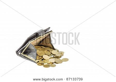 Black purse with Ukrainian coins isolated on white