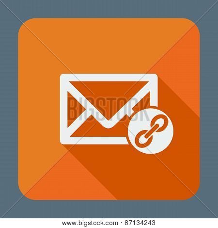 Mail icon, envelope with chain. Flat design vector illustration.