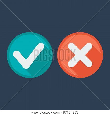 Flat style icons. Check and cross marks. Validation. Vector illustration.