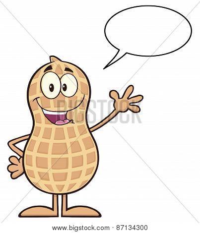 Happy Peanut Cartoon Character Waving