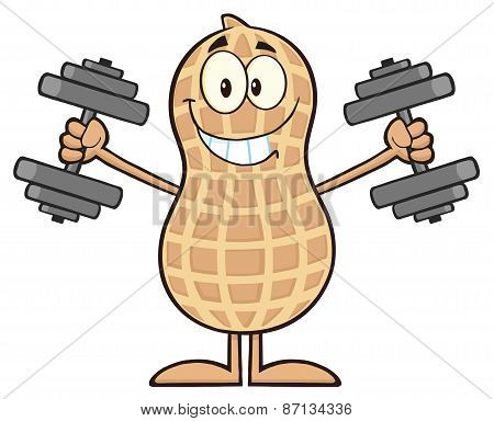 Smiling Peanut Cartoon Character Training With Dumbbells