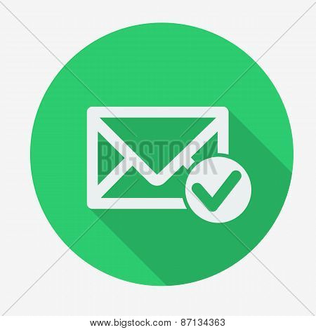 Mail icon, envelope with accept sign. Flat design vector illustration.