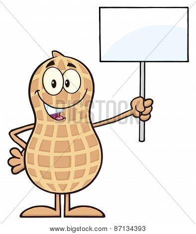 Peanut Cartoon Character Holding Up A Blank Sign