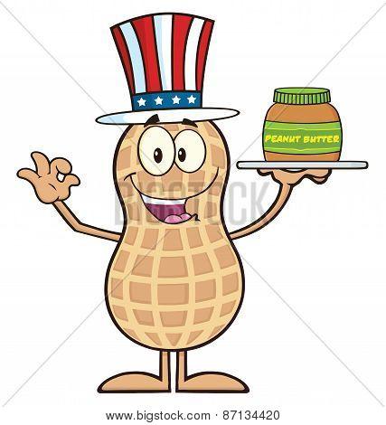 American Peanut Cartoon Character Holding A Jar Of Peanut Butter
