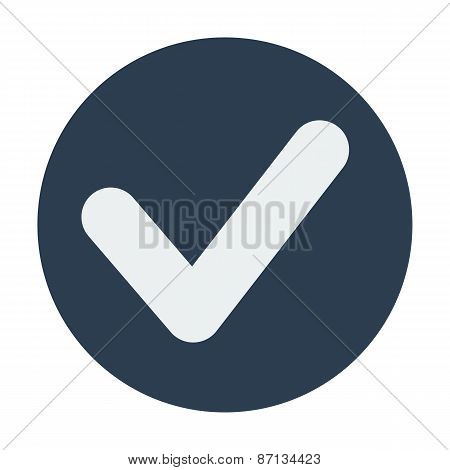 Single check mark icon. Flat design vector illustration