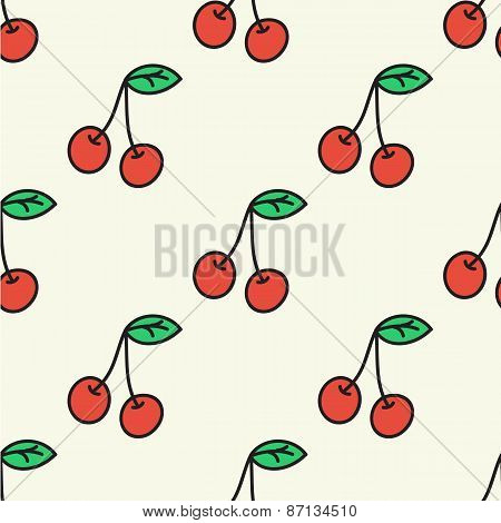 Seamless hand-drawn pattern with cherry. Vector illustration.