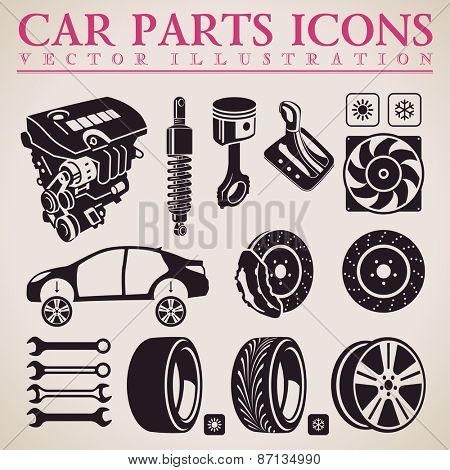 Car parts set. Vector repair car service icons set