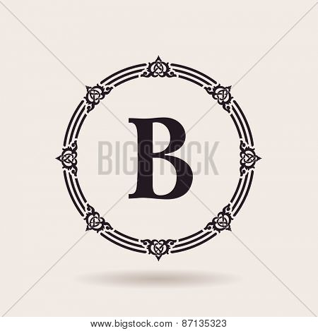 Vector frame calligraphic design emblem. Vintage labels and badges for alphabet logo quality
