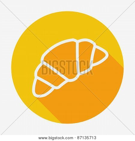 Single croissant icon. vector illustration with long shadow