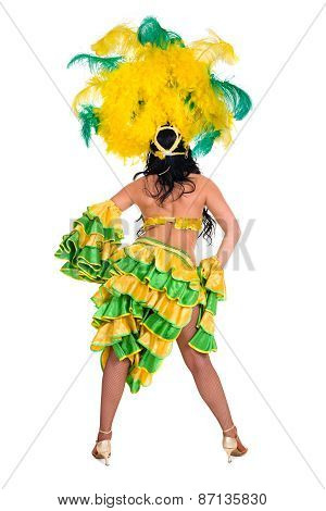 carnival dancer woman dancing, rear view